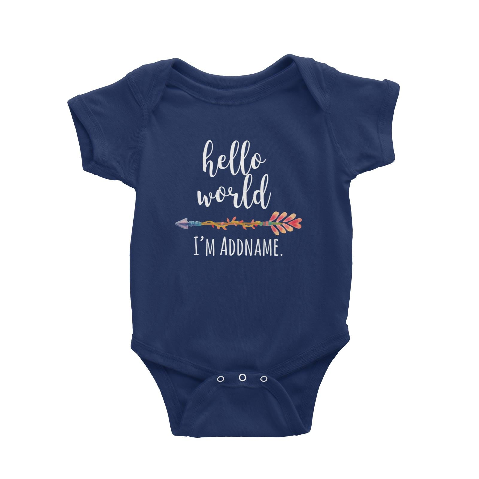 Hello World I'm Addname with Arrow Baby Romper Personalizable Designs Basic Newborn