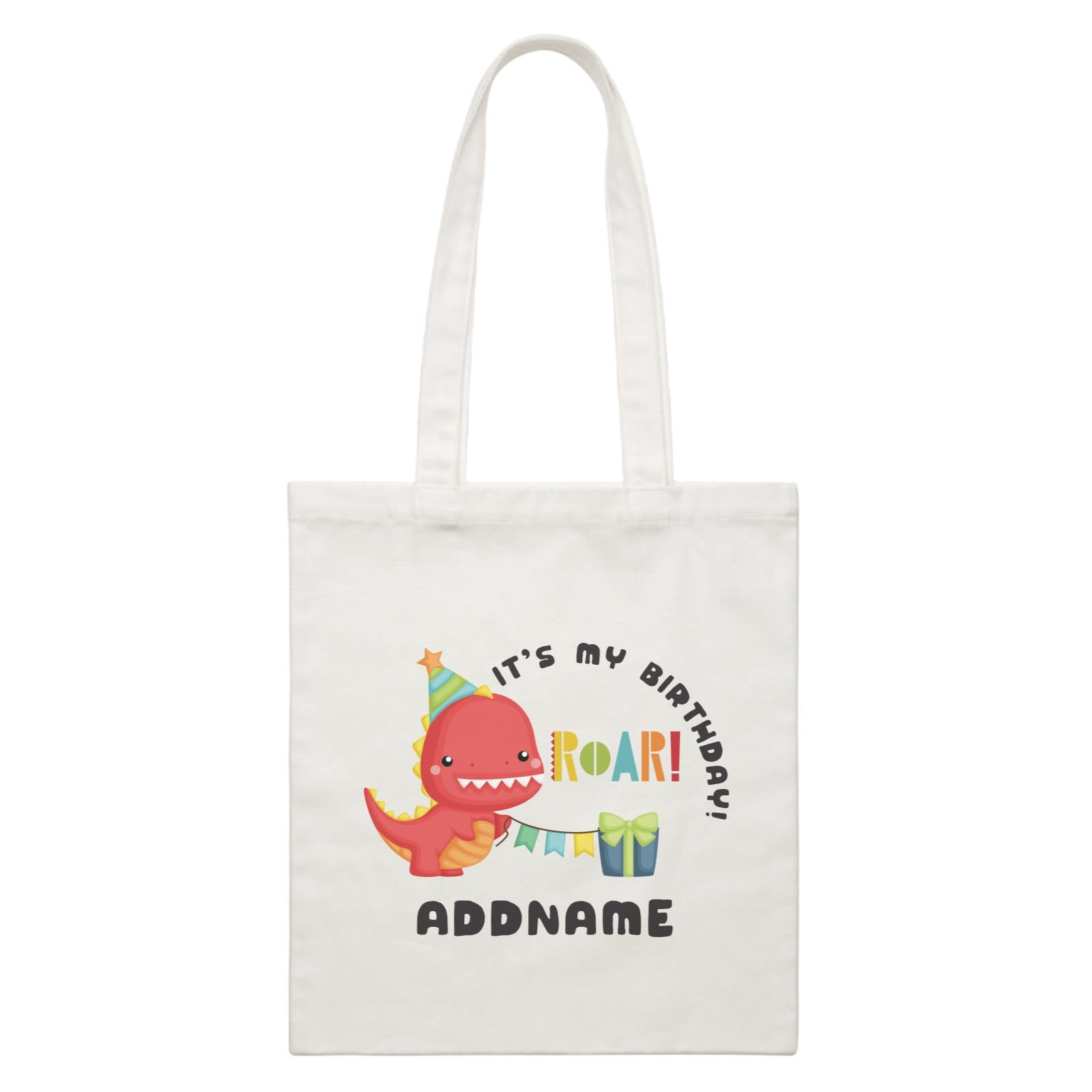Birthday Dinosaur Happy Red Rex Wearing Party Hat It's My Birthday Addname White Canvas Bag