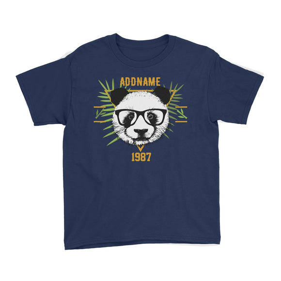 Jersey Panda With Glasses Personalizable with Name and Year Kid's T-Shirt