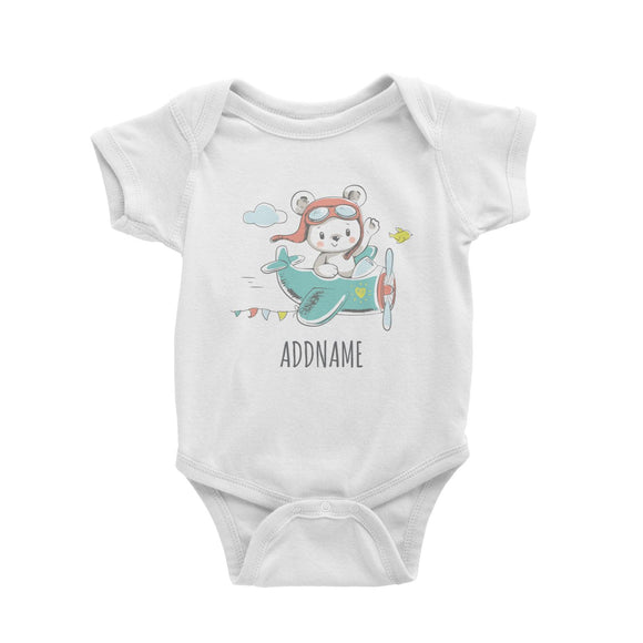 Pilot Bear on Plane White Baby Romper Personalizable Designs Cute Sweet Animal For Boys Occupation HG