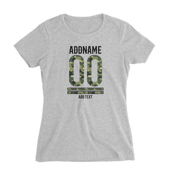 Camouflage Jersey Personalizable with Name Number and Text Women's Slim Fit T-Shirt