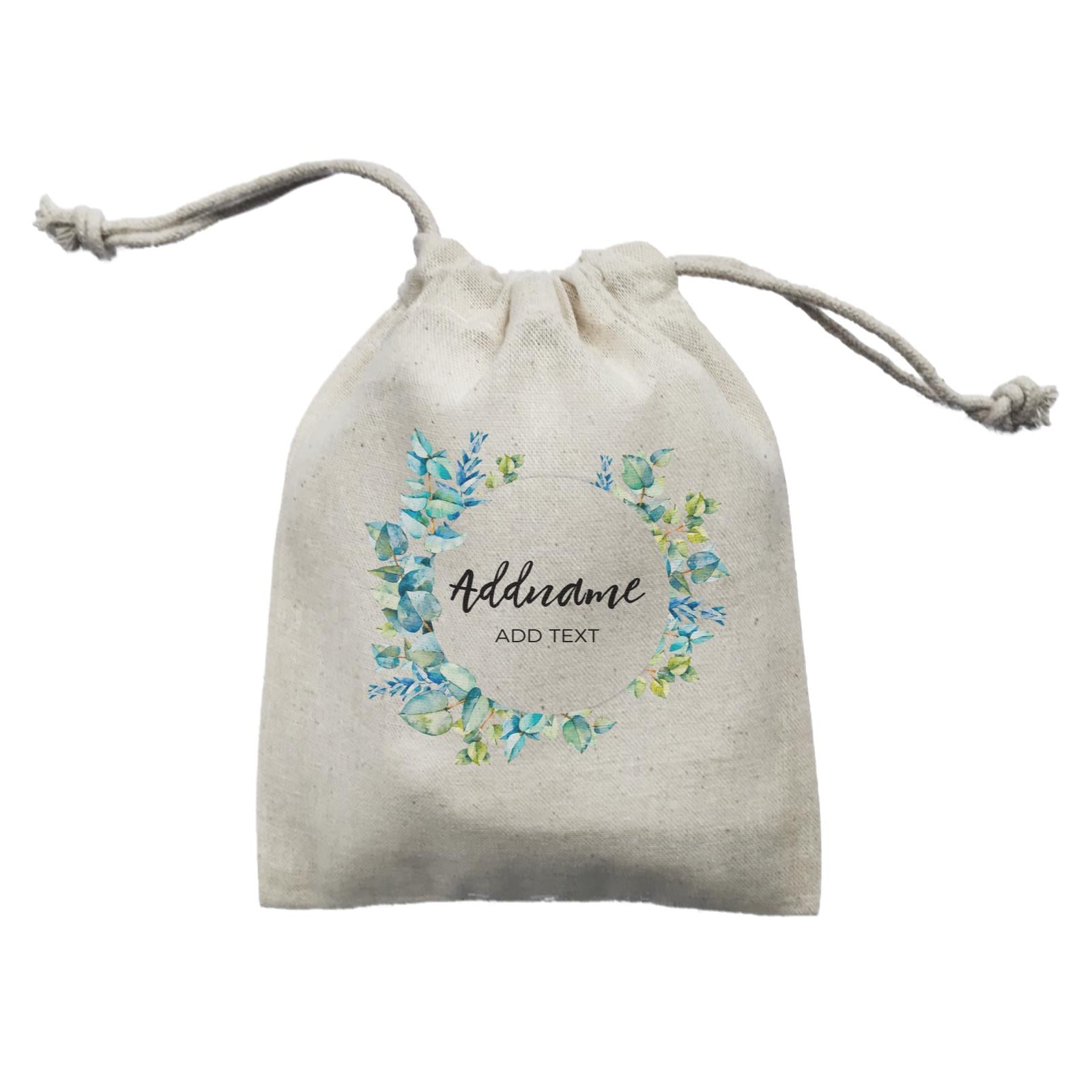 Add Your Own Text Teacher Blue Leaves Wreath Addname And Add Text Mini Pouch