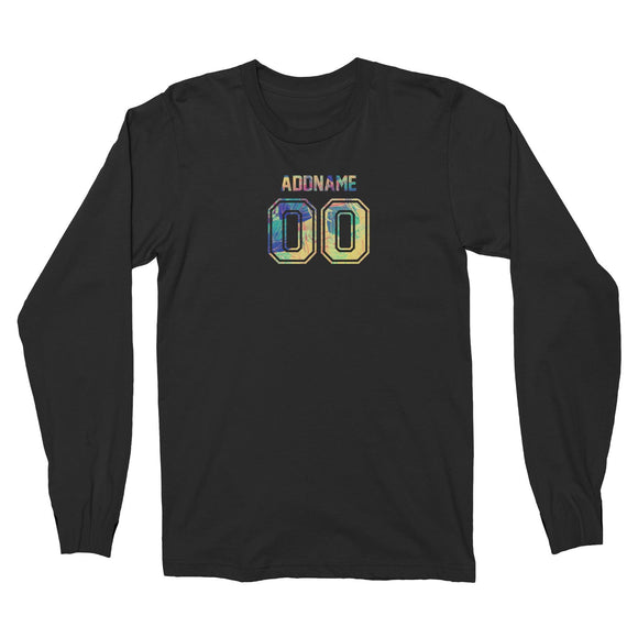 Custom Adults Jersey Colourful Nature Pattern With Name and Number Long Sleeve Unisex T-Shirt