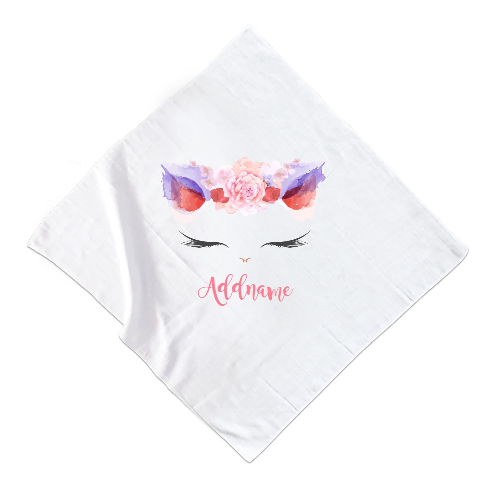 Pink and Red Roses Garland Cat Face Addname Muslin  Square