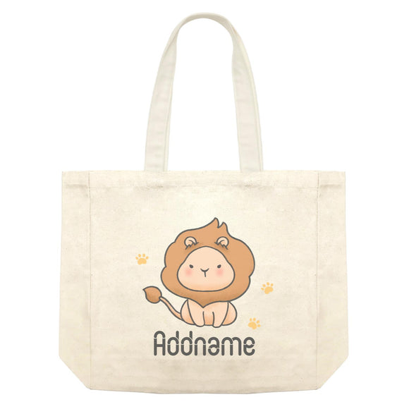 Cute Hand Drawn Style Lion Addname Shopping Bag