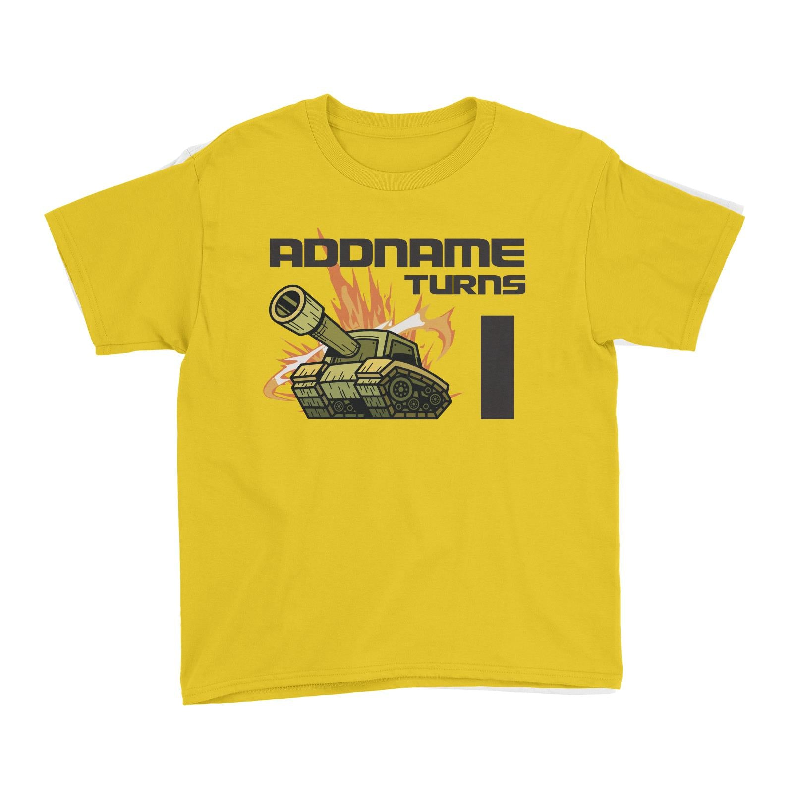 Birthday Battle Theme Tank Addname Turns 1 Kid's T-Shirt