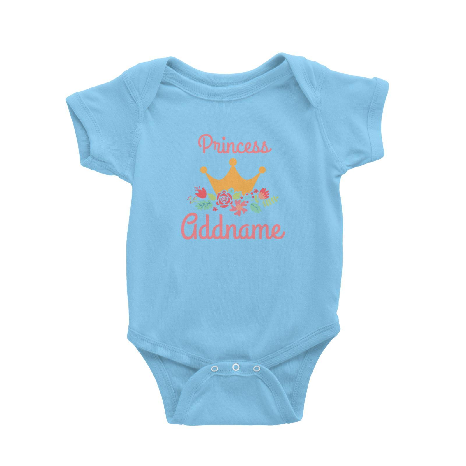 Princess Addname with Tiara and Flowers Baby Romper