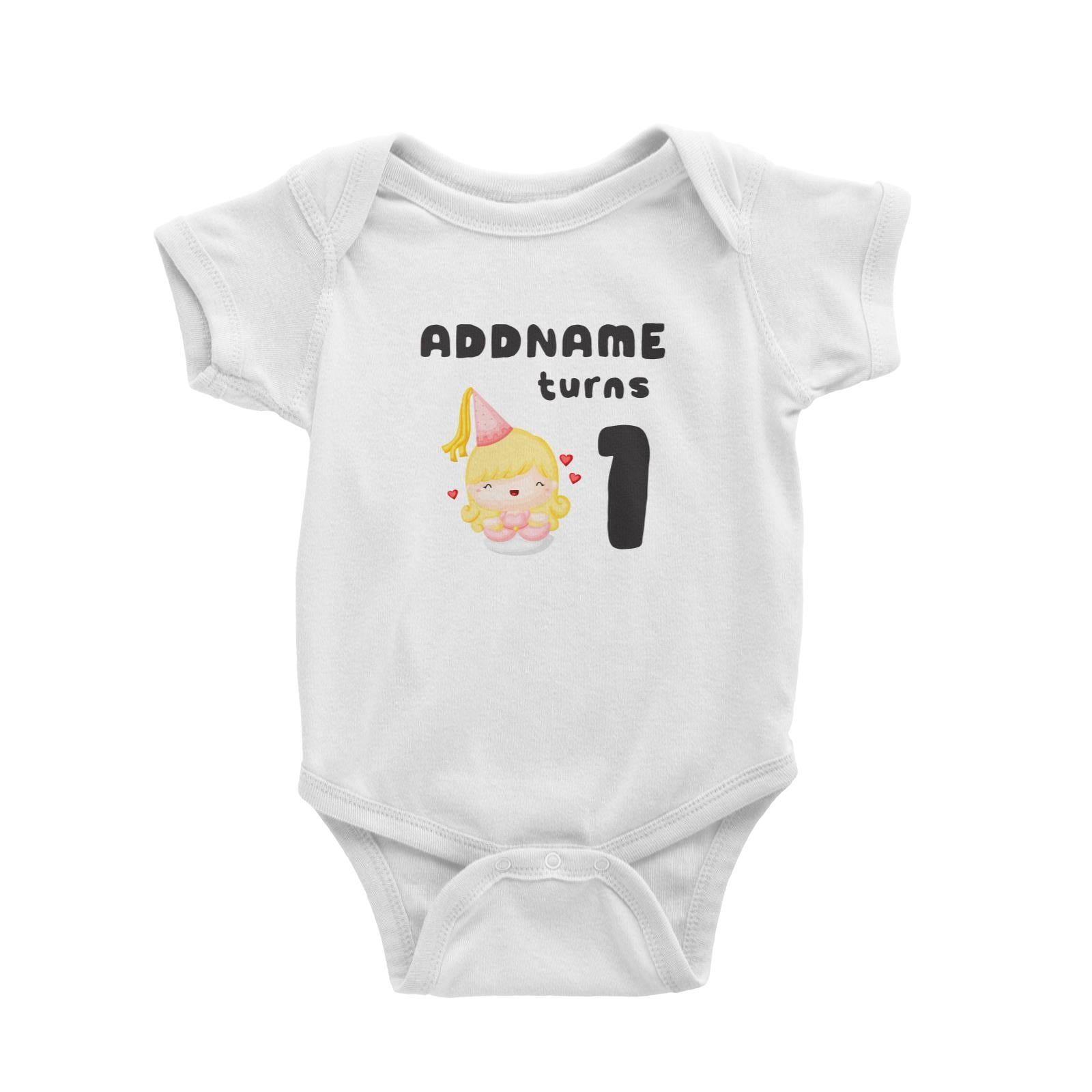 Birthday Royal Princess Girl Addname Turns 1 Baby Romper