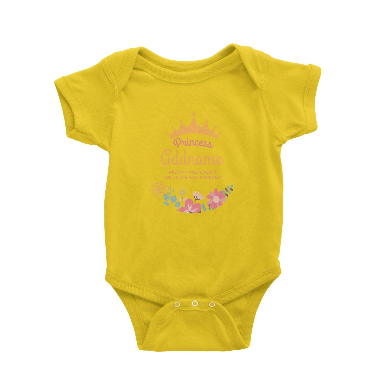 Princess with Tiara and Flowers 2 Personalizable with Name and Text Baby Romper
