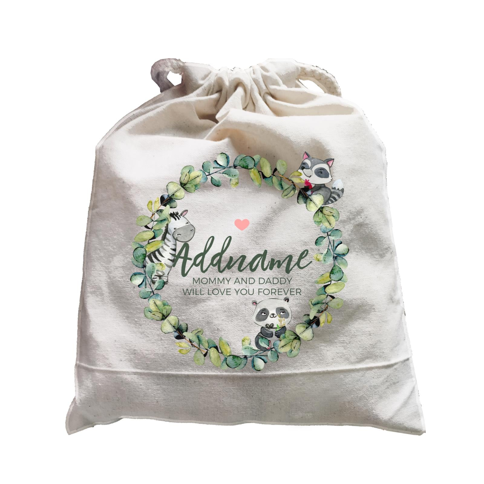 Watercolour Panda Zebra and Racoon Leaf Wreath Personalizable with Name and Text Satchel