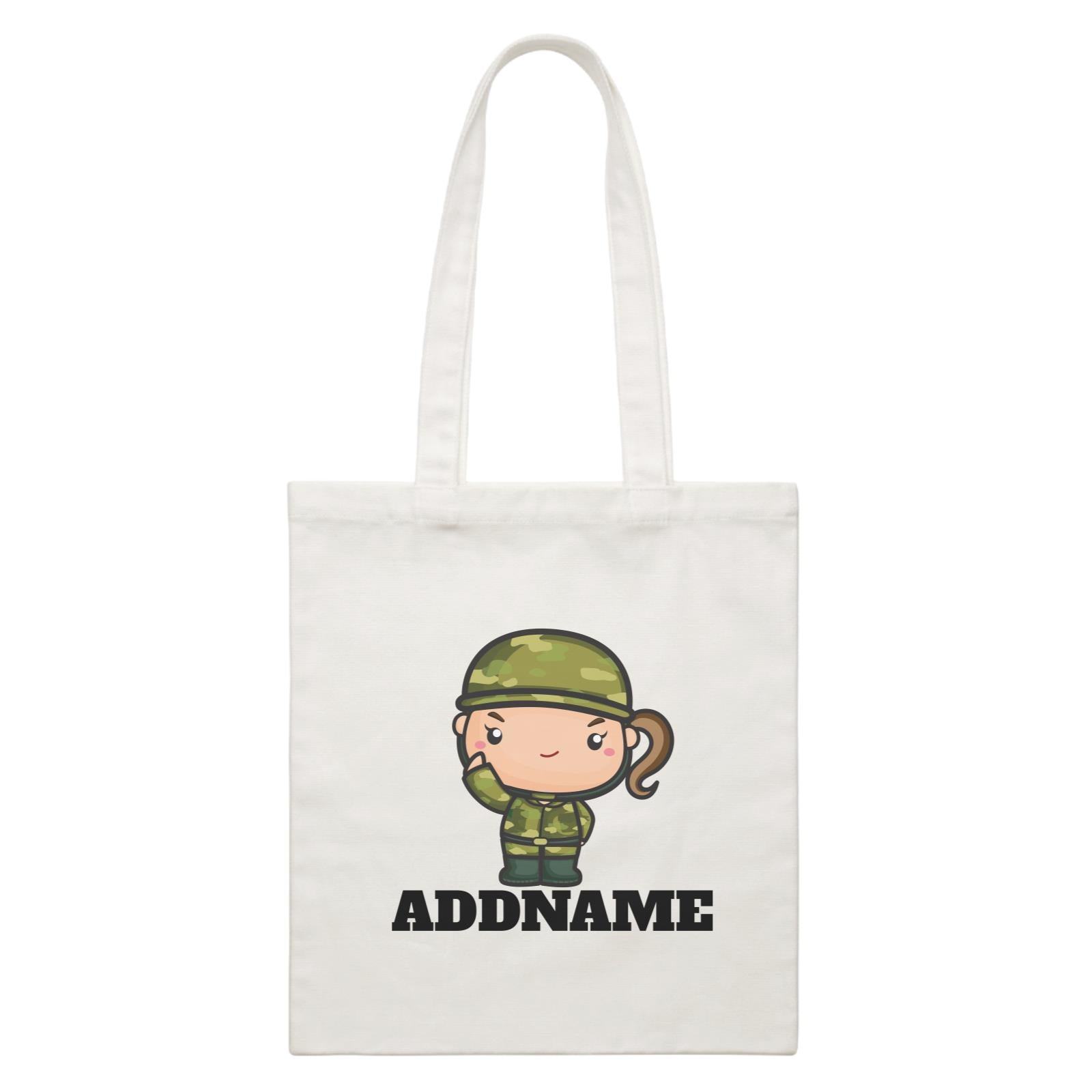 Birthday Battle Theme Army Soldier Girl Addname White Canvas Bag