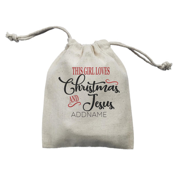 Xmas This Girl Loves Christmas and Jesus Mini Accessories Mini Pouch