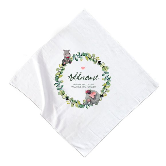 Watercolour Hippo and Elephant Leaf Wreath Personalizable with Name and Text Muslin Square