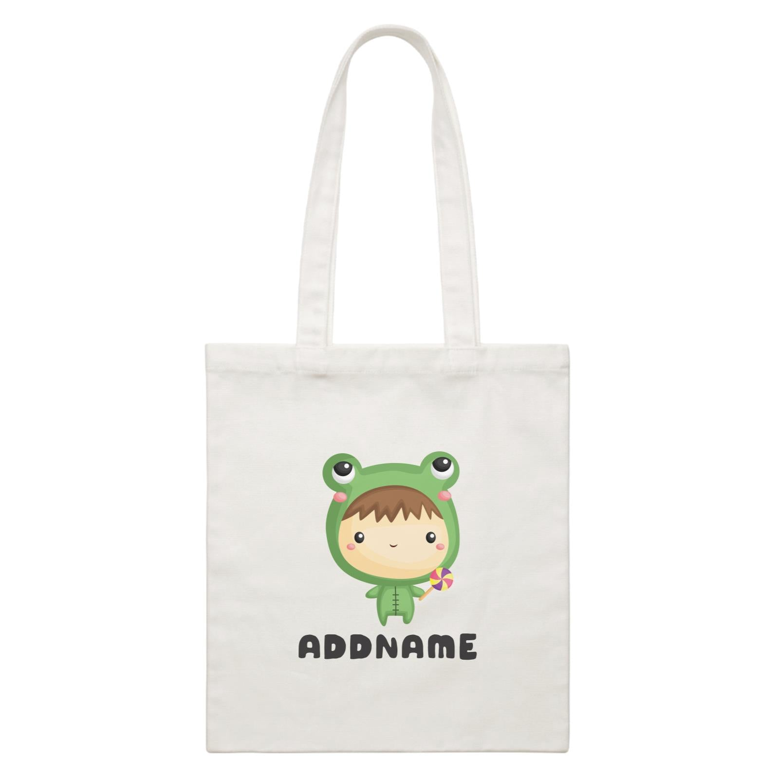 Birthday Frog Baby Boy Wearing Frog Suit Holding Lolipop Addname White Canvas Bag