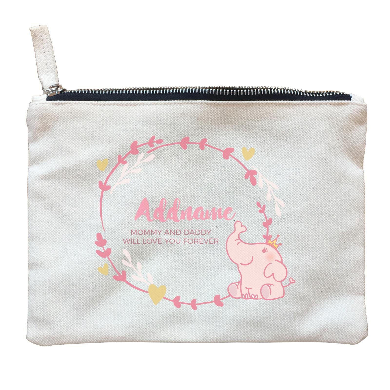 Cute Pink Elephant Princess Personalizable with Name and Text Zipper Pouch