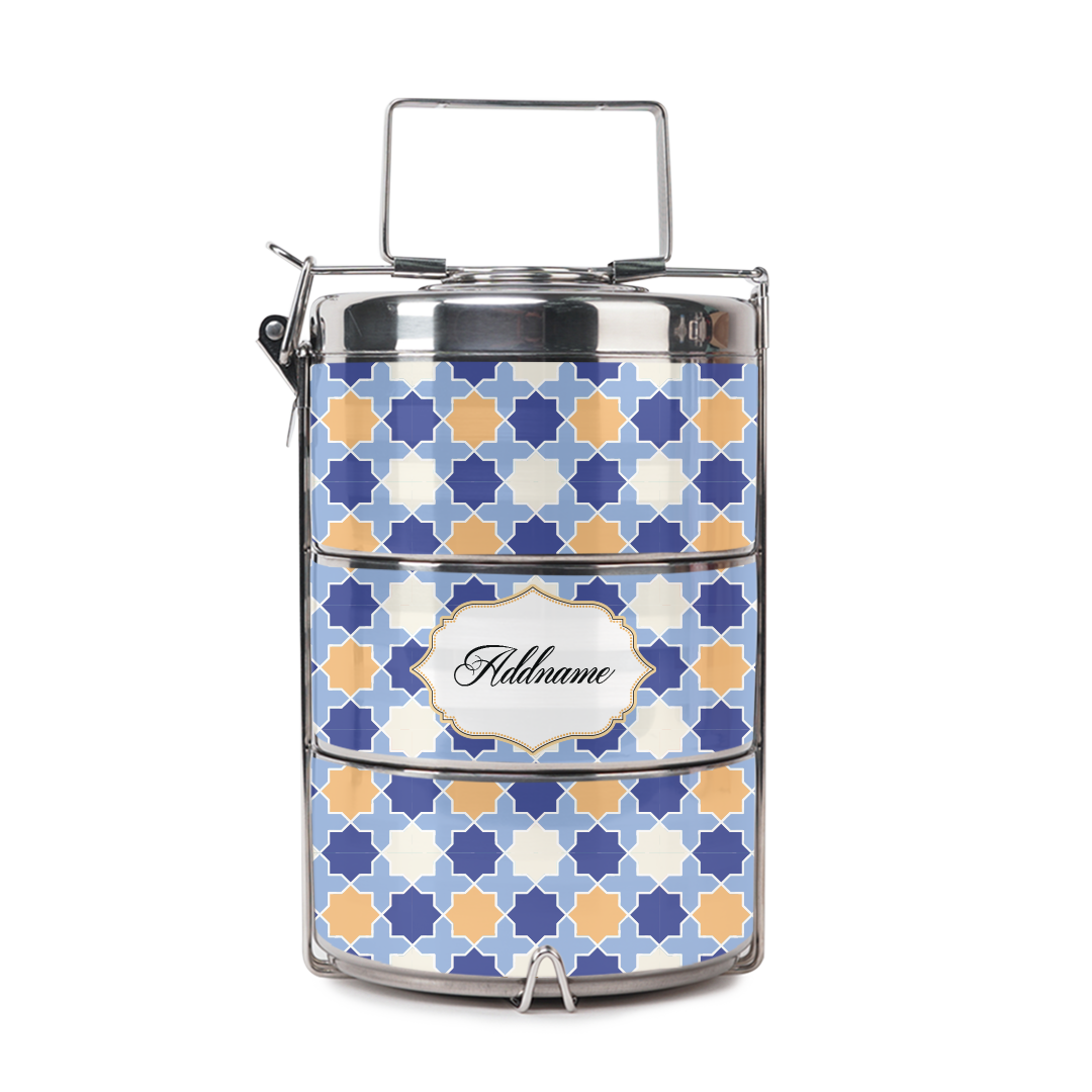 [RAYA 2021] Monotous Moroccan Blue Tiffin Carrier