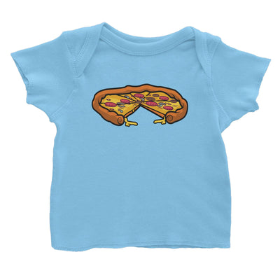 Fast Food Whole Pizza with A Slice Taken Out Baby T-Shirt  Matching Family Comic Cartoon
