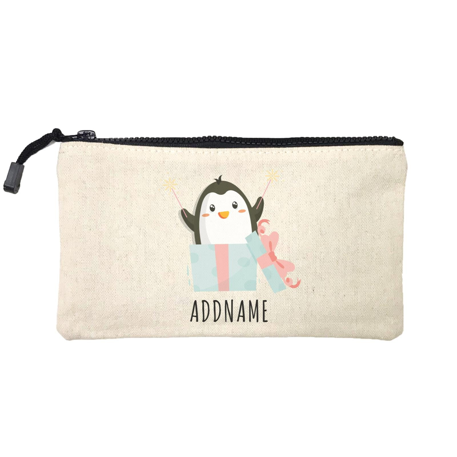 Birthday Cute Penguin Taking Fireworks In Present Box Addname Mini Accessories Stationery Pouch
