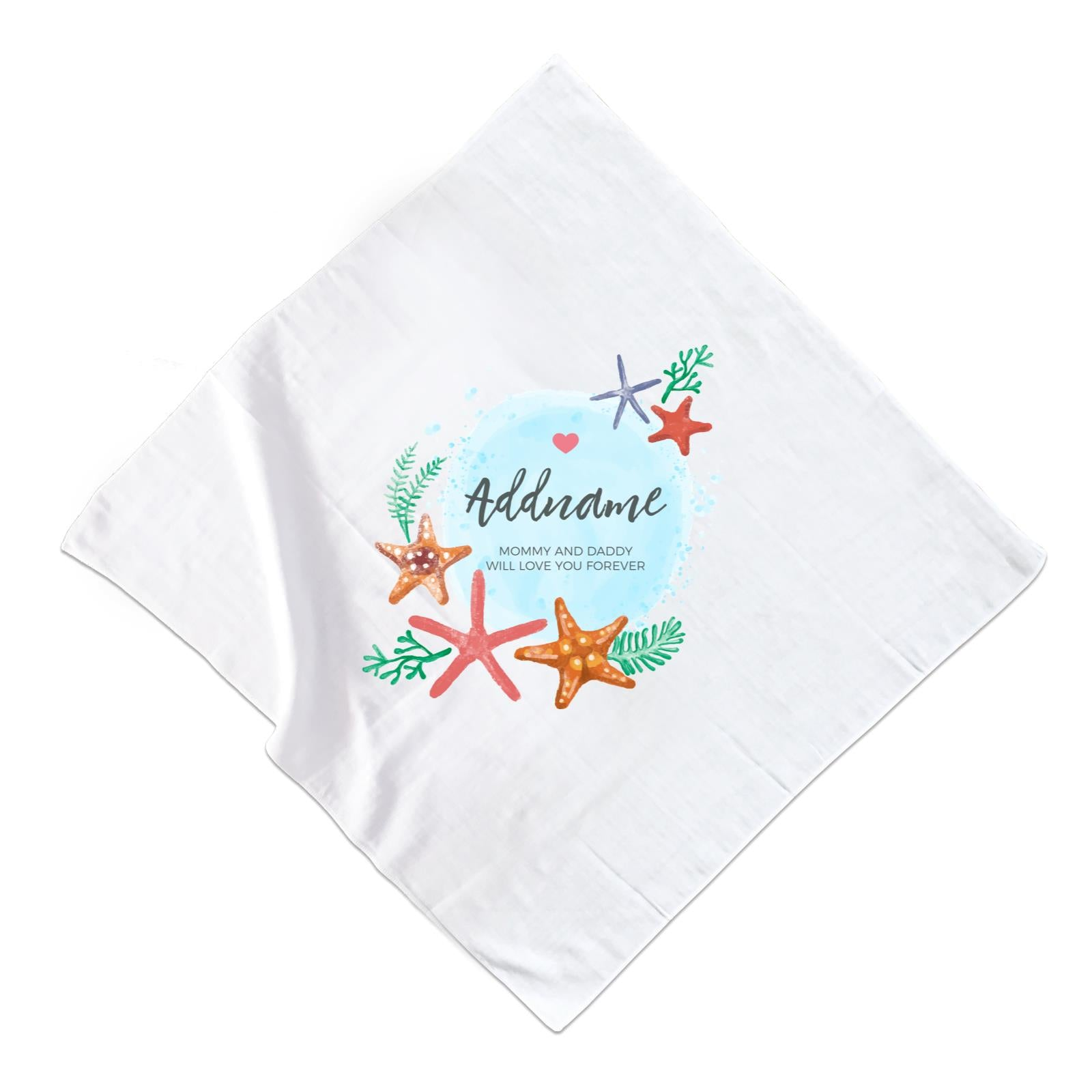 Watercolour Starfish and Coral Elements Personalizable with Name and Text Muslin Square