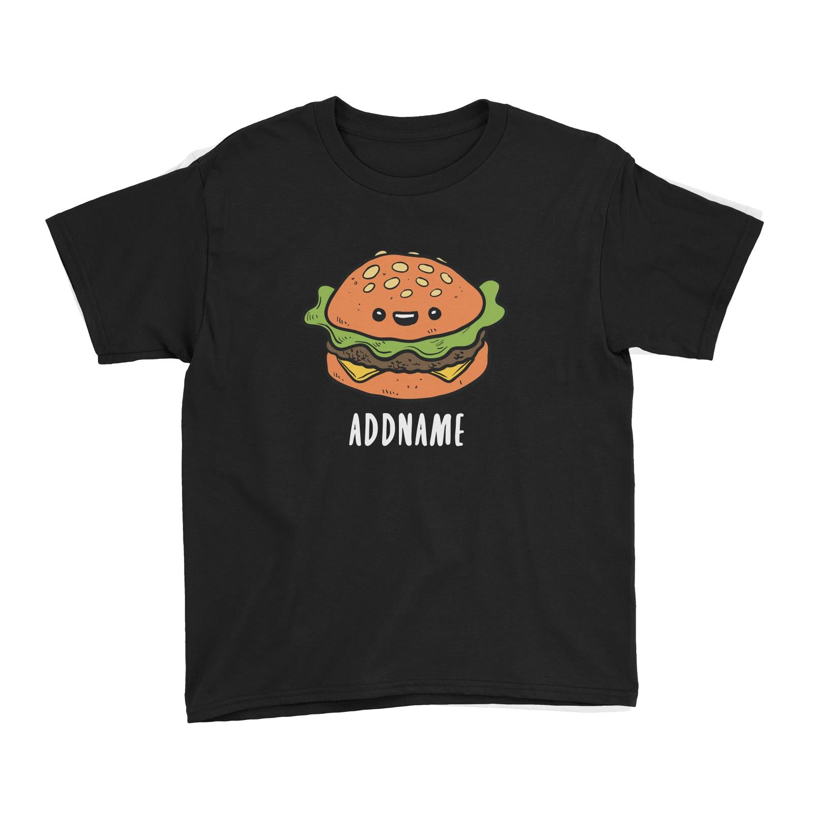 Fast Food Burger Addname Kid's T-Shirt  Matching Family Comic Cartoon Personalizable Designs