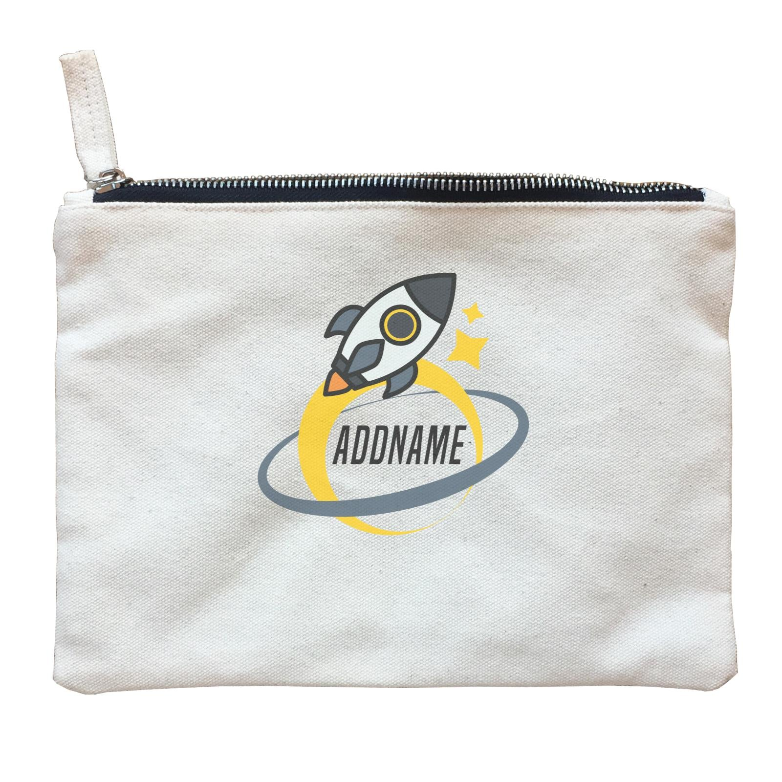 Birthday Rocket To Galaxy Moon And Star Addname Zipper Pouch