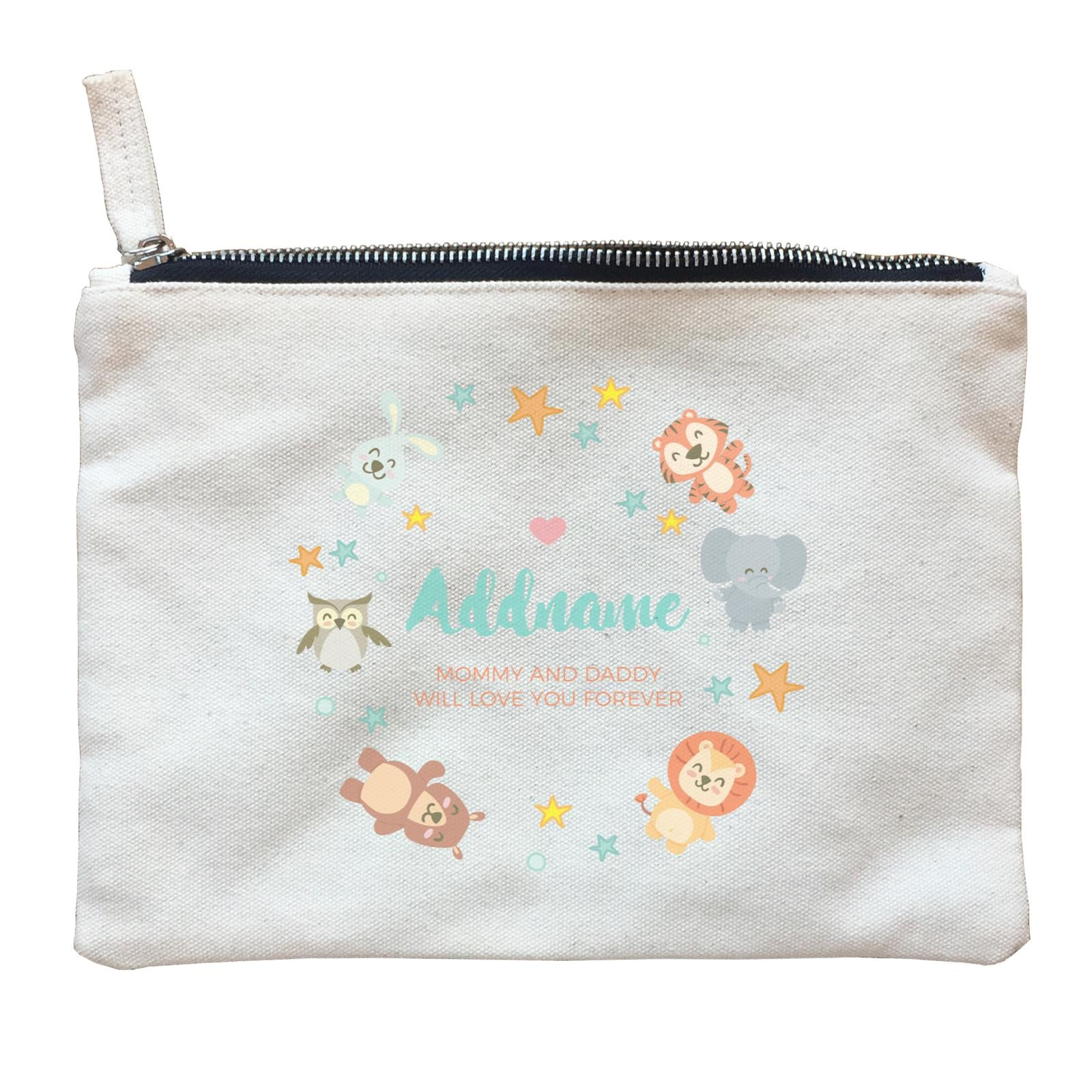 Cute Safari Animals with Stars Element Personalizable with Name and Text Zipper Pouch