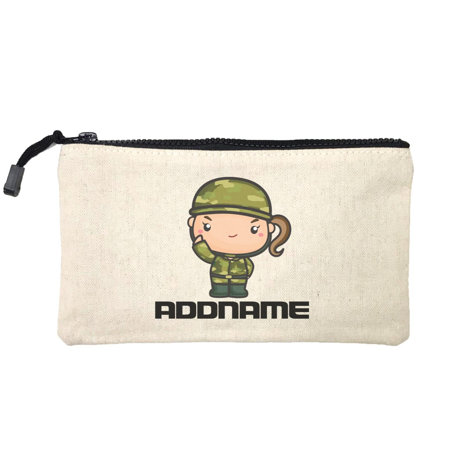 Birthday Battle Theme Army Soldier Girl Addname Mini Accessories Stationery Pouch