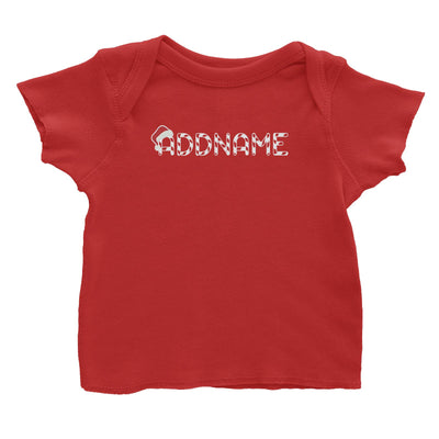 Candy Cane Alphabet Addname with Santa Hat Baby T-Shirt Christmas Matching Family Personalizable Designs Lettering