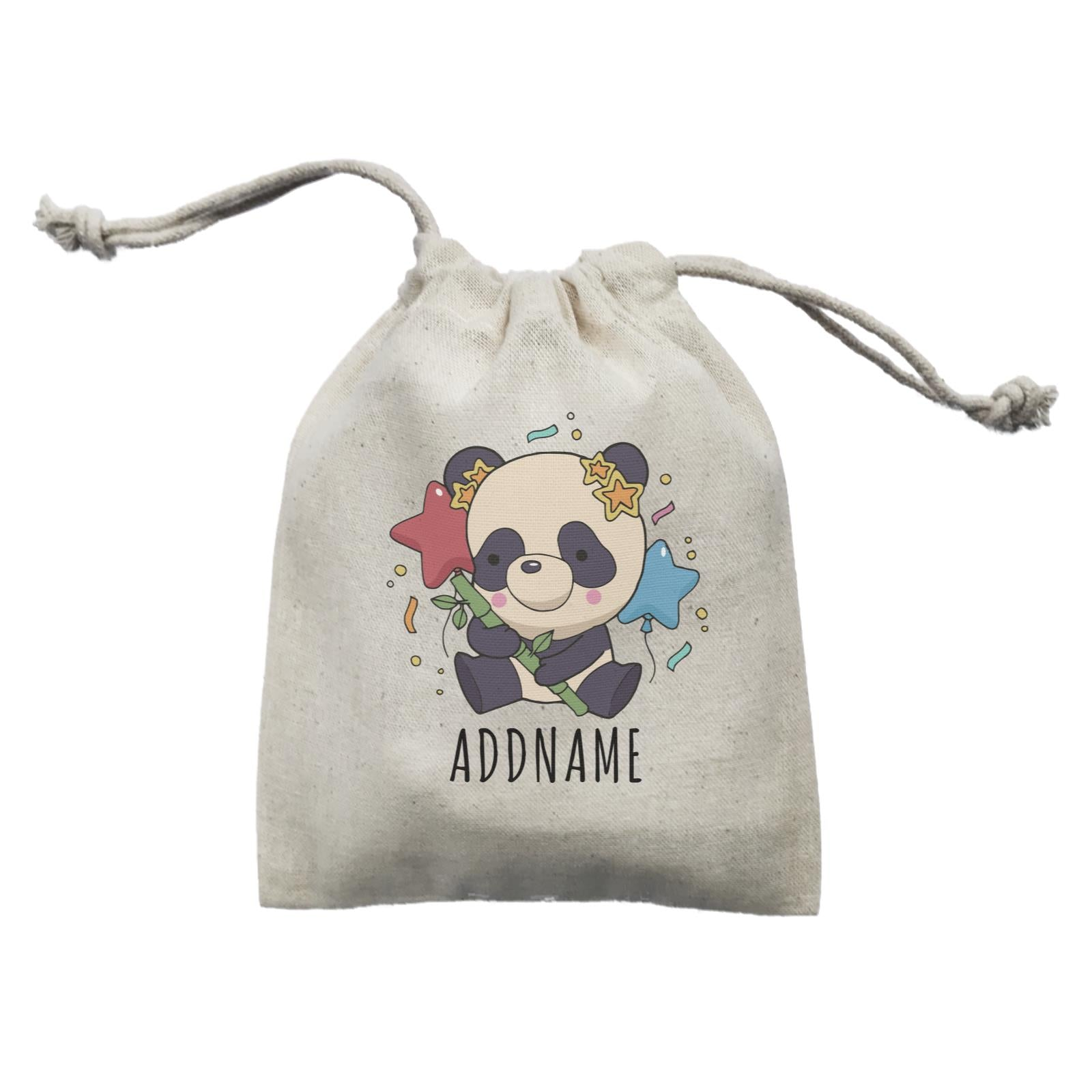 Birthday Sketch Animals Panda with Party Hat Holding Bamboo Addname Mini Accessories Mini Pouch
