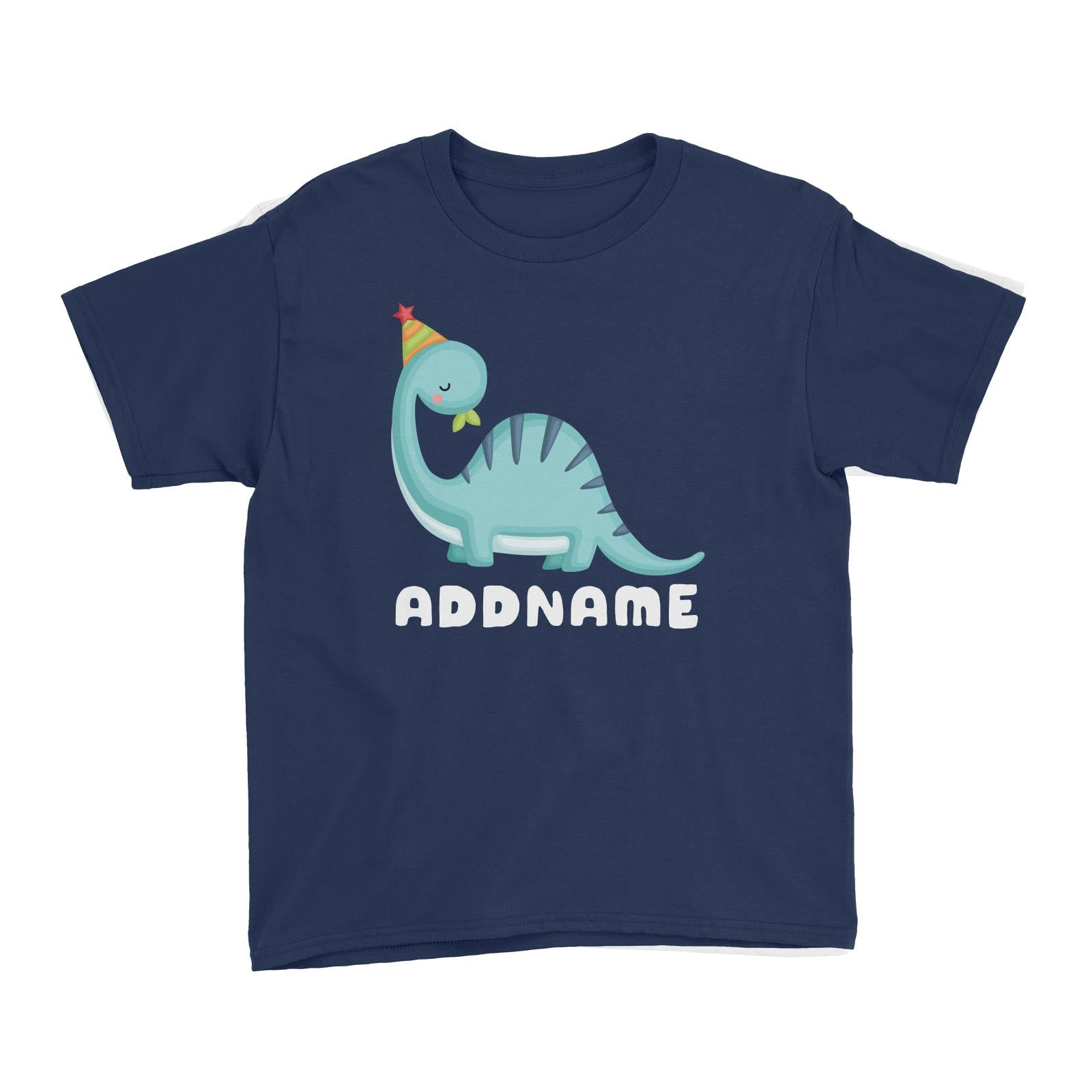 Birthday Dinosaur Happy Blue Long Neck With Party Hat Addname Kid's T-Shirt