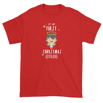 Cute Girl Angel First Christmas Addname Unisex T-Shirt  Personalizable Designs