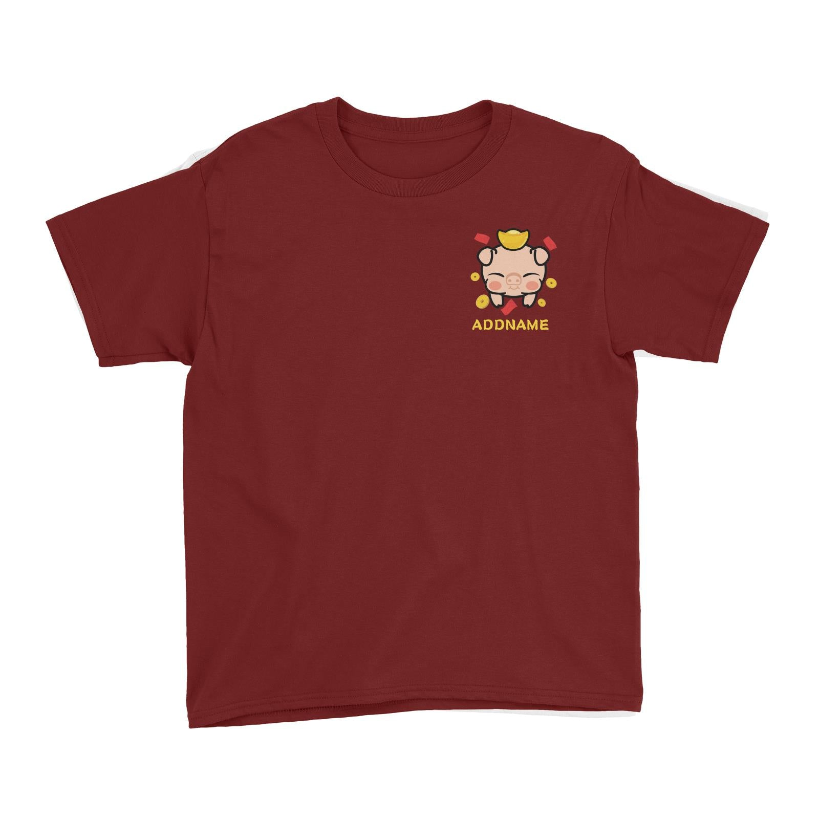 Prosperity Pig Baby Head with Gold Pocket Design Kid's T-Shirt