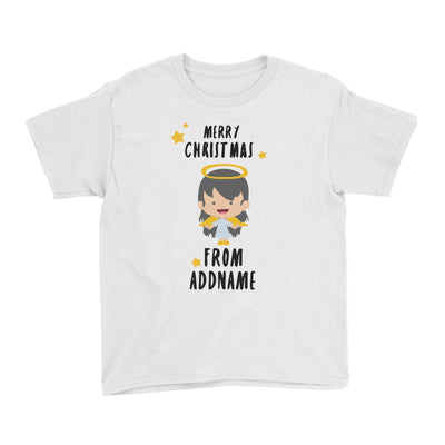 Cute Girl Angel Merry Christmas Addname Kid's T-Shirt  Personalizable Designs Matching Family