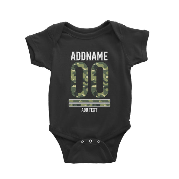 Camouflage Jersey Personalizable with Name Number and Text Baby Romper