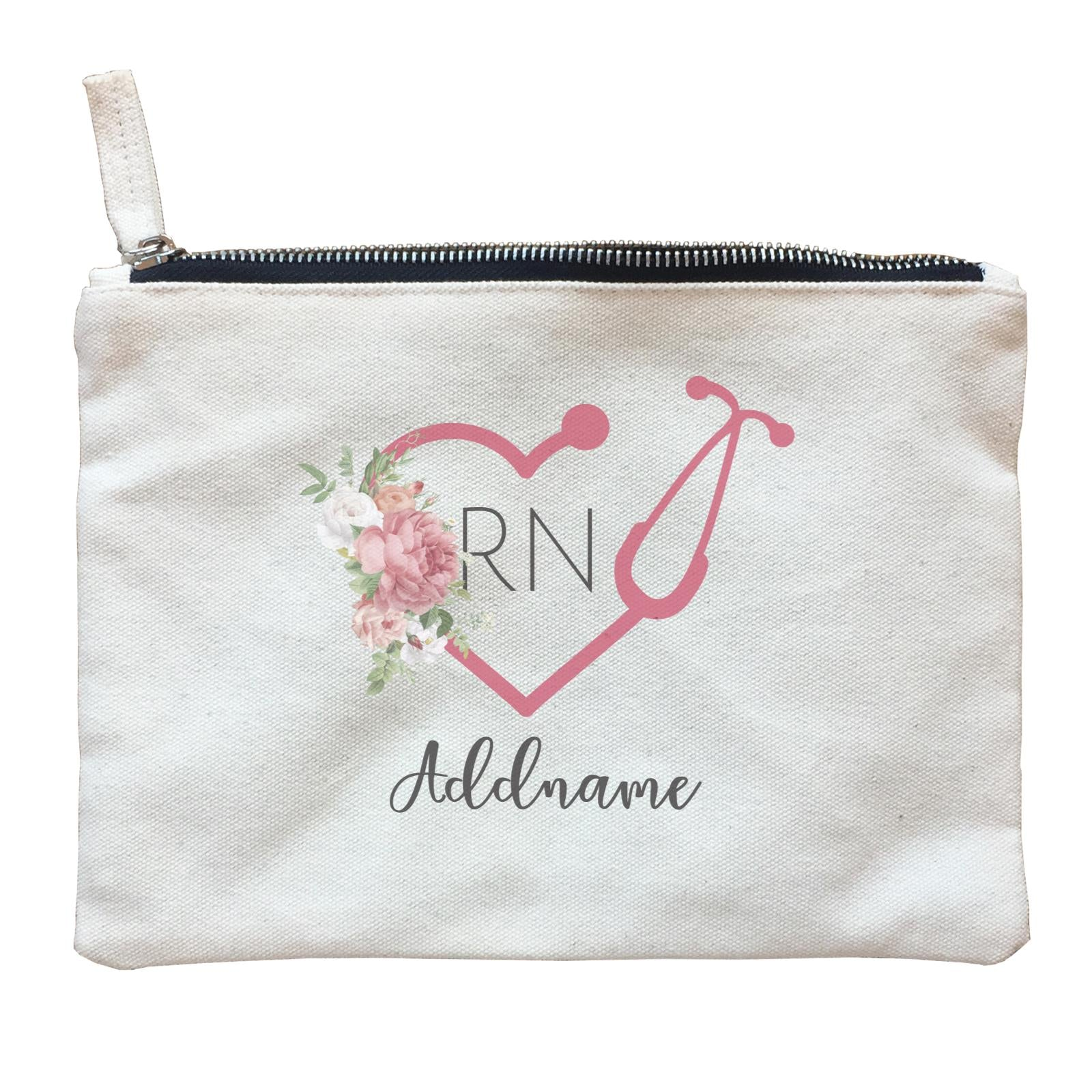 Nurse Quotes Stethoscope RN With Love Shape Addname Zipper Pouch