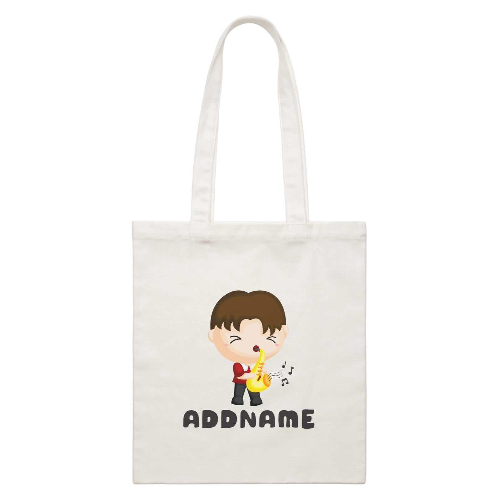 Birthday Music Band Boy Playing Saxophone Addname White Canvas Bag