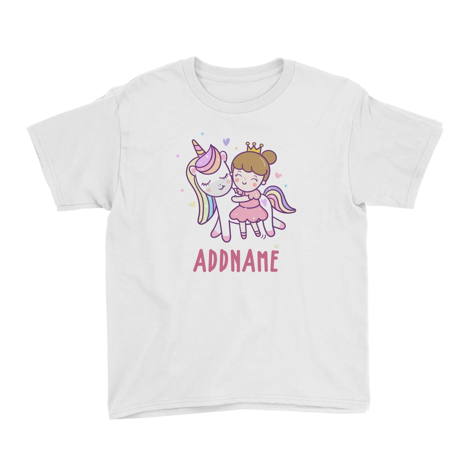 Unicorn And Princess Series Cute Unicorn With Princess Addname Kid's T-Shirt