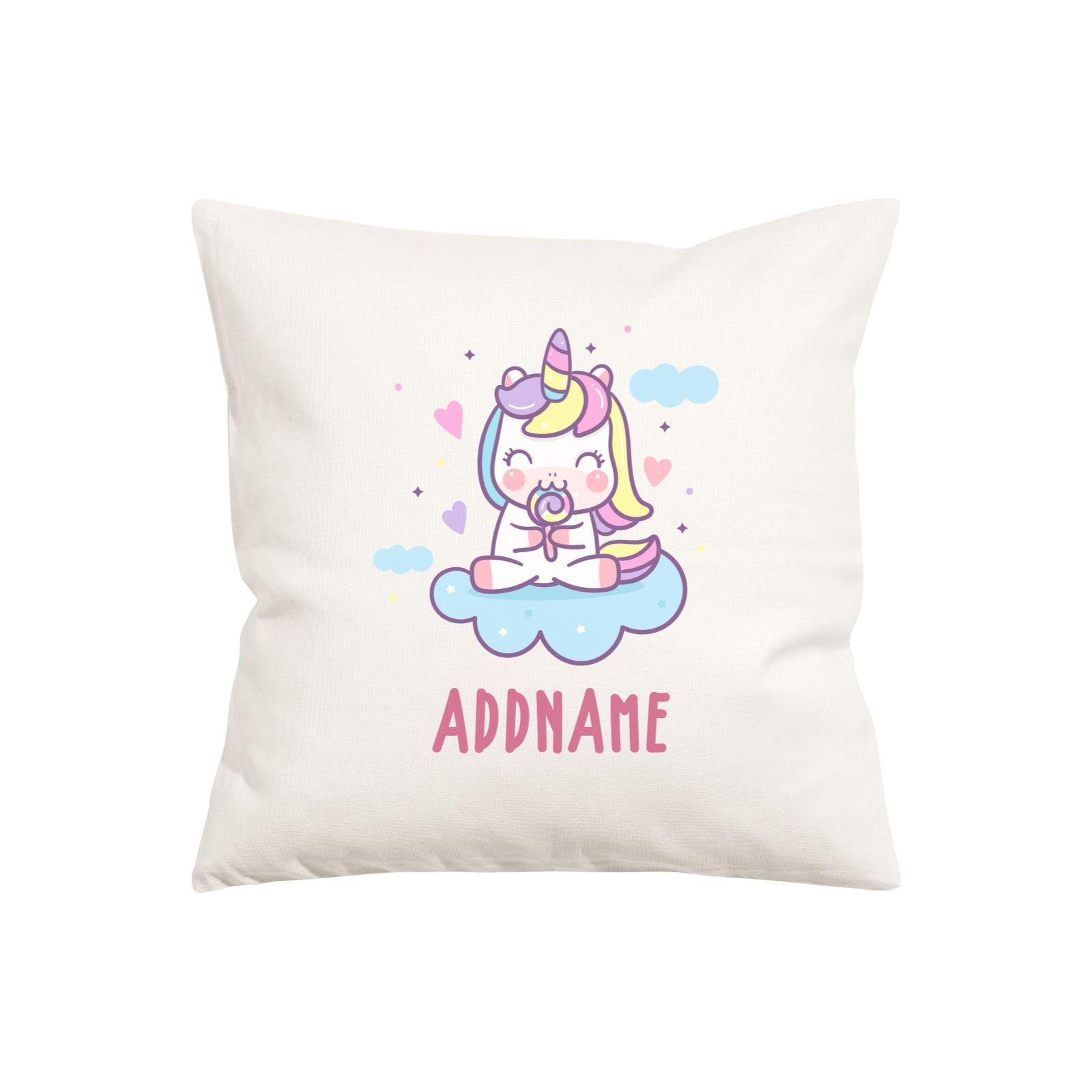 Unicorn And Princess Series Cute Unicorn Eating Lolipop Addname Pillow Cushion