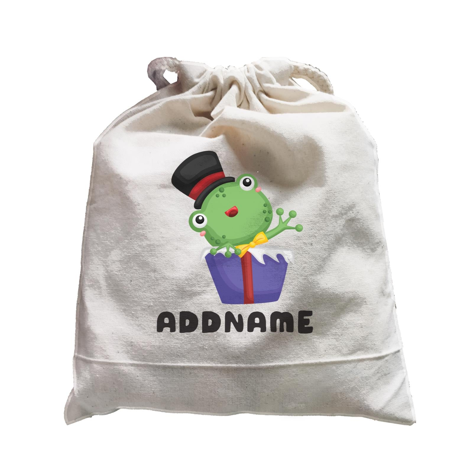 Birthday Frog Frog Wearing Hat Inside Present Box Addname Satchel