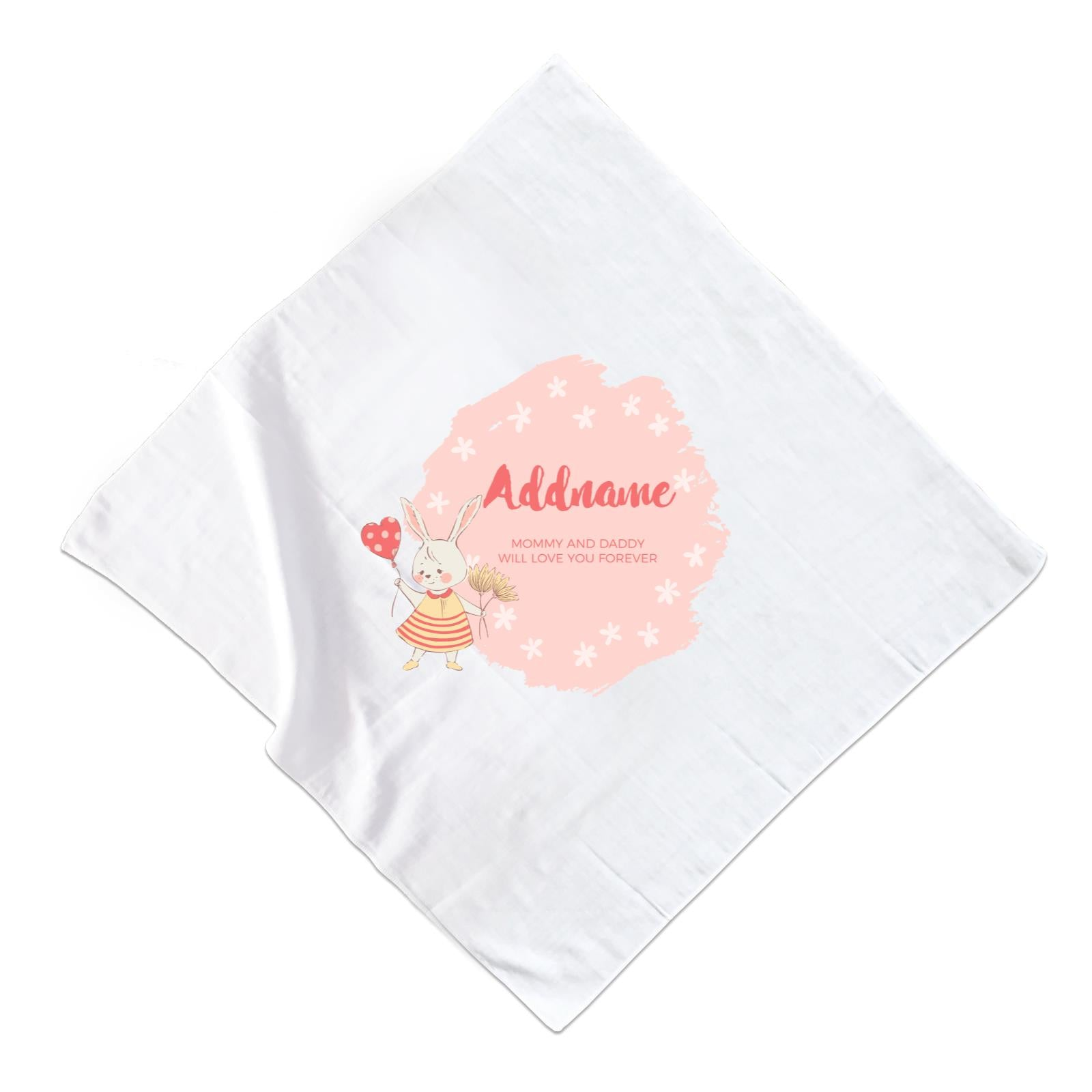 Cute Girl Rabbit with Heart Balloon Personalizable with Name and Text Muslin Square