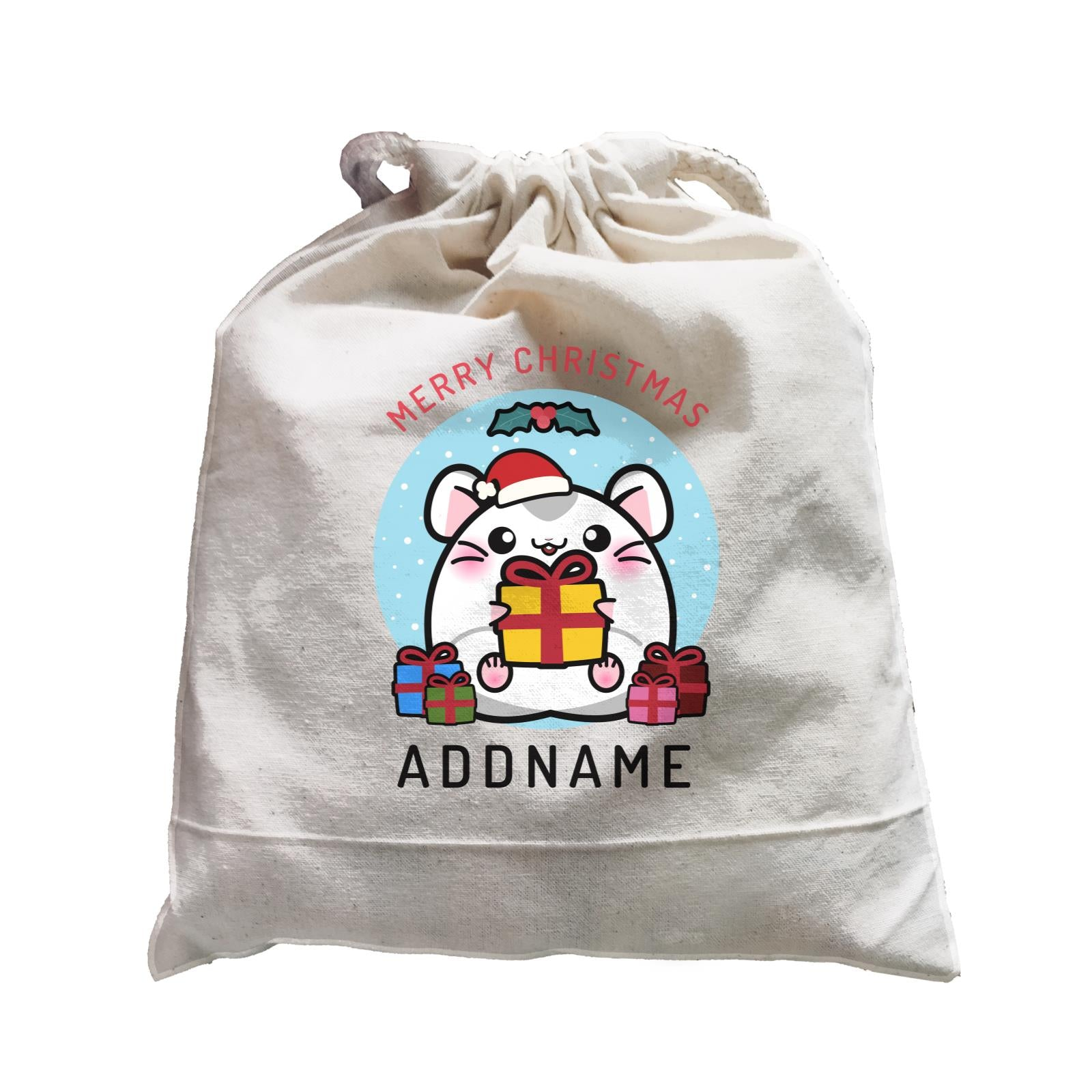 Merry Christmas Cute Santa Boy Hamster with Gifts Satchel