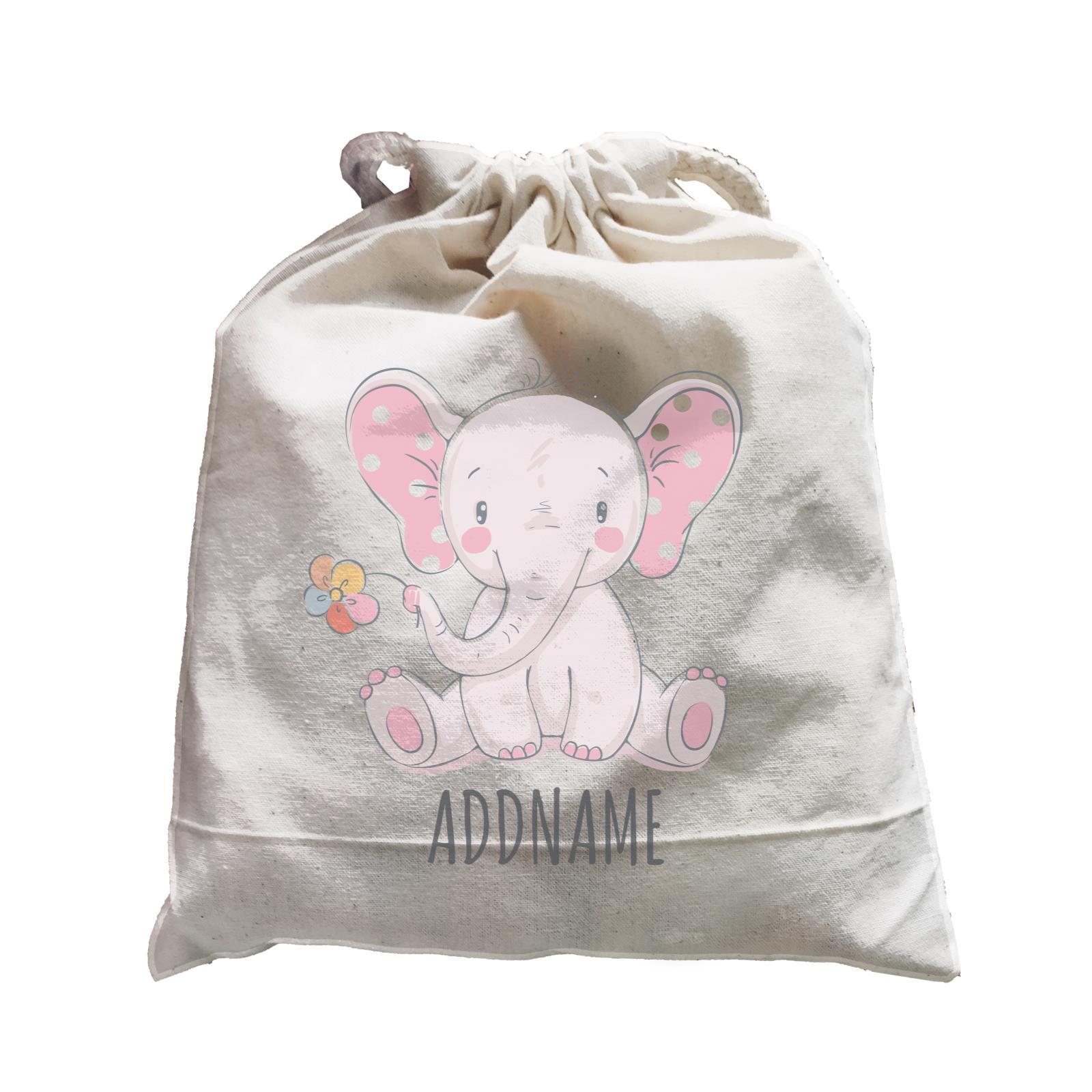 Sitting Girl Elephant with Flower Satchel Personalizable Designs Cute Sweet Animal For Girls Pinky Newborn HG