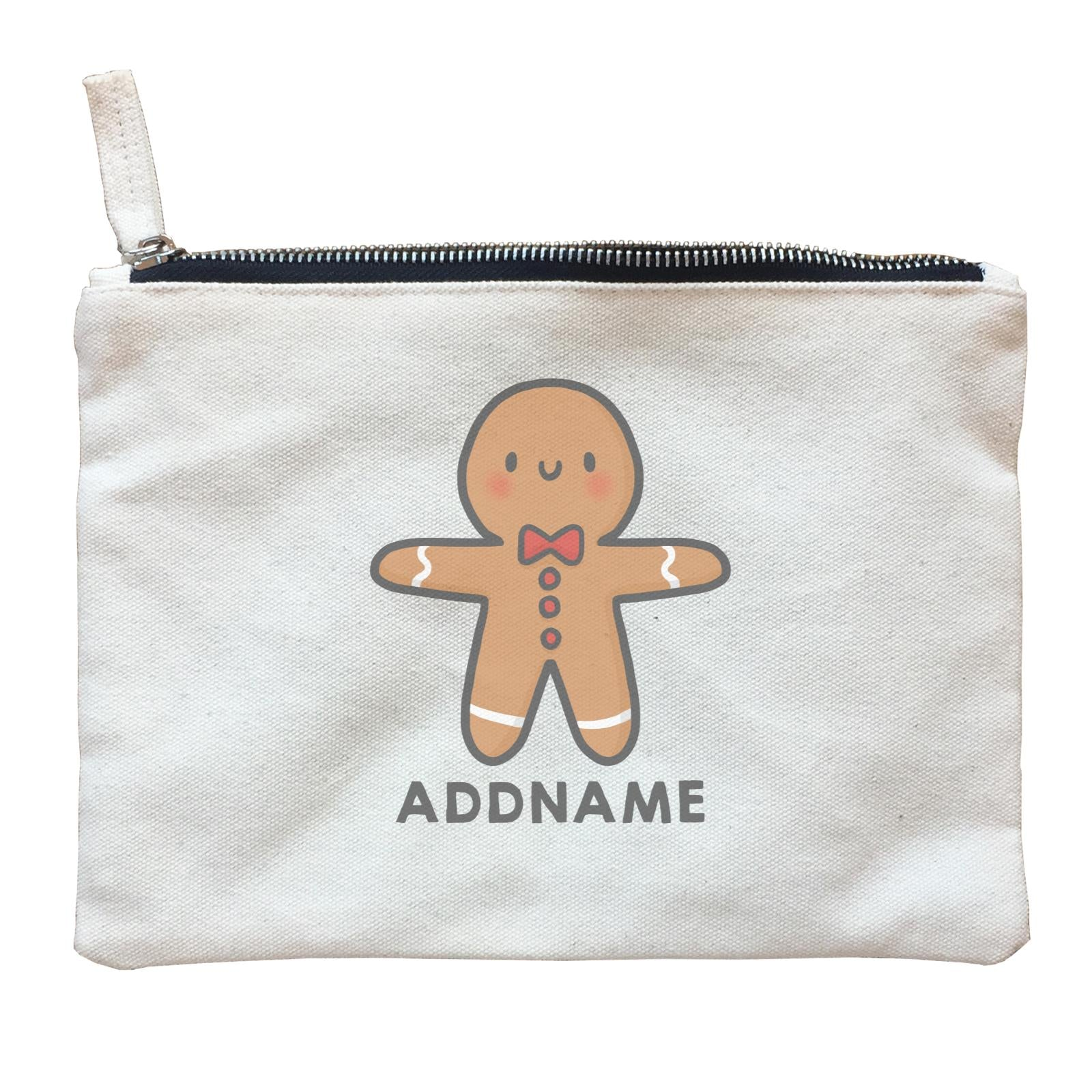Xmas Cute Gingerbread Man Addname Zipper Pouch