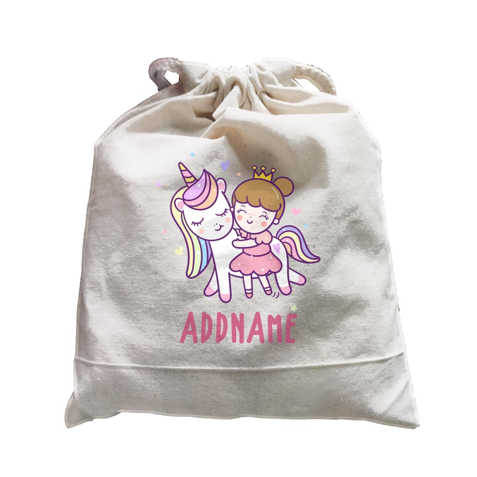 Unicorn And Princess Series Cute Unicorn With Princess Addname Satchel