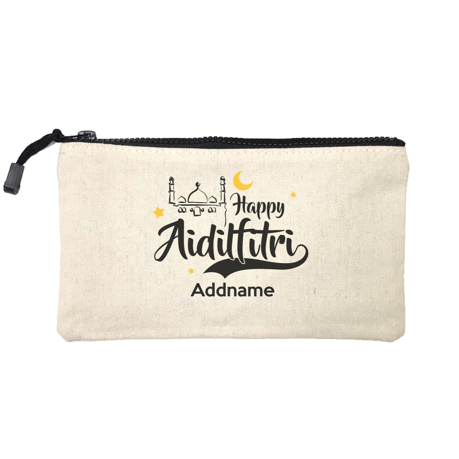 Raya Typography Doodle Mosque Happy Aidilfitri Addname Mini Accessories Stationery Pouch