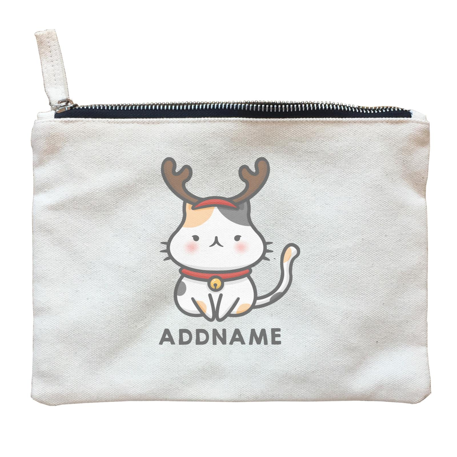 Xmas Cute Cat With Reindeer Antlers Addname Accessories Zipper Pouch