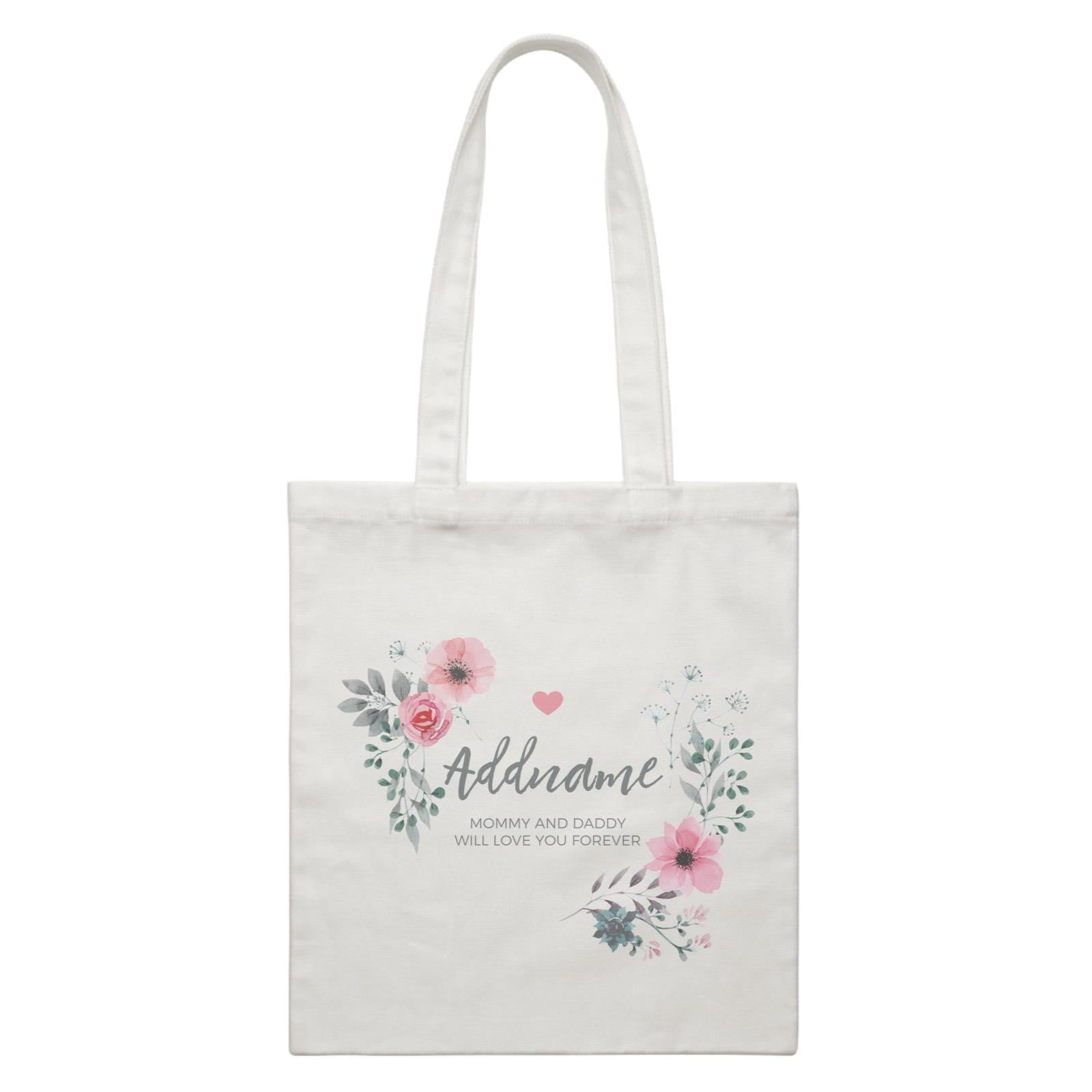 Watercolour Pink Flowers and Dark Wreath Personalizable with Name and Text White Canvas Bag