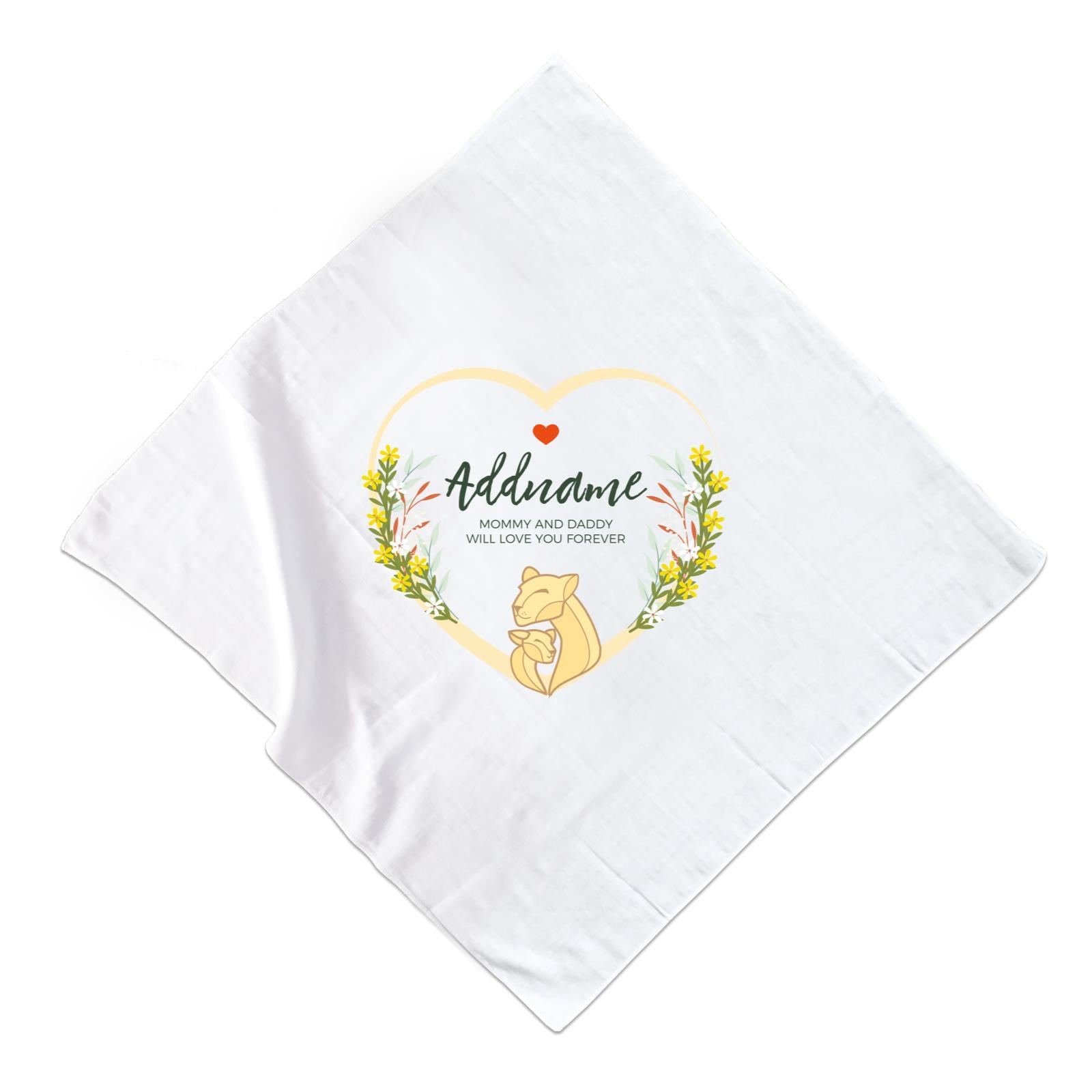 Loving Mother and Baby Lion in Heart Personalizable with Name and Text Muslin Square