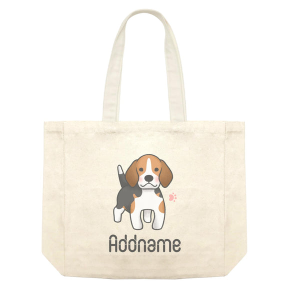 Cute Hand Drawn Style Beagle Addname Shopping Bag