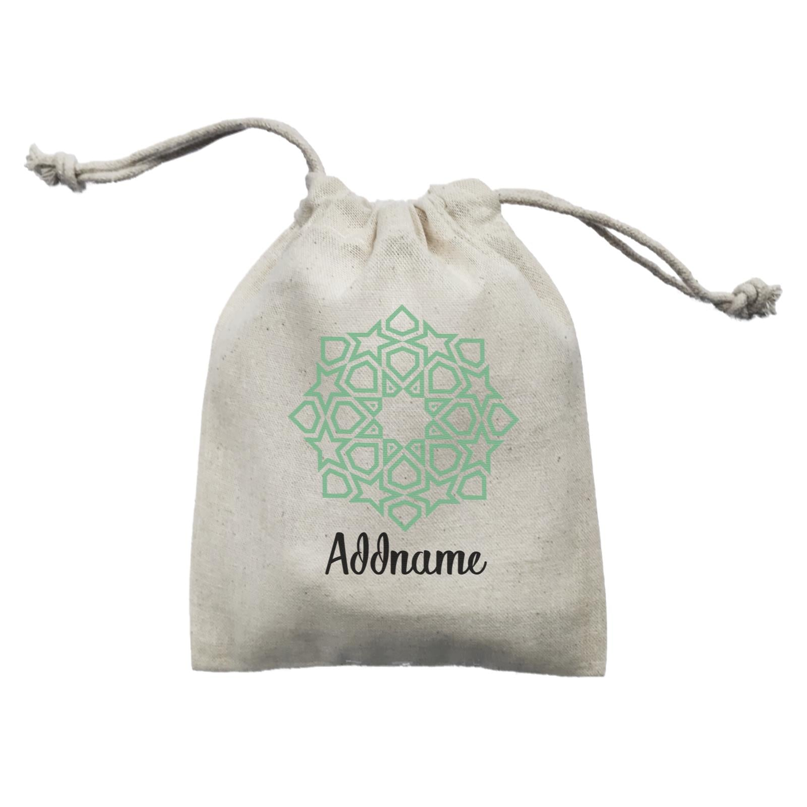 Raya Symbol Green Islamic Geometric Addname Mini Accessories Mini Pouch
